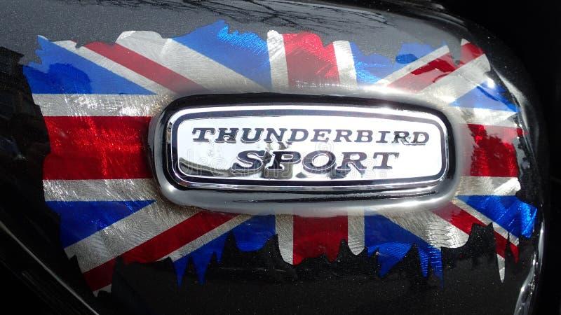 Triumph Thunderbird sporta motocyklu odznaka z Union Jack flaga obraz royalty free
