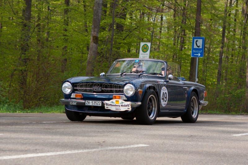 1972 Triumph TR 6 pi al ADAC Wurttemberg Rallye storico 2013 immagine stock
