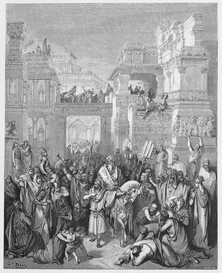 Triumph van Mordecai royalty-vrije illustratie