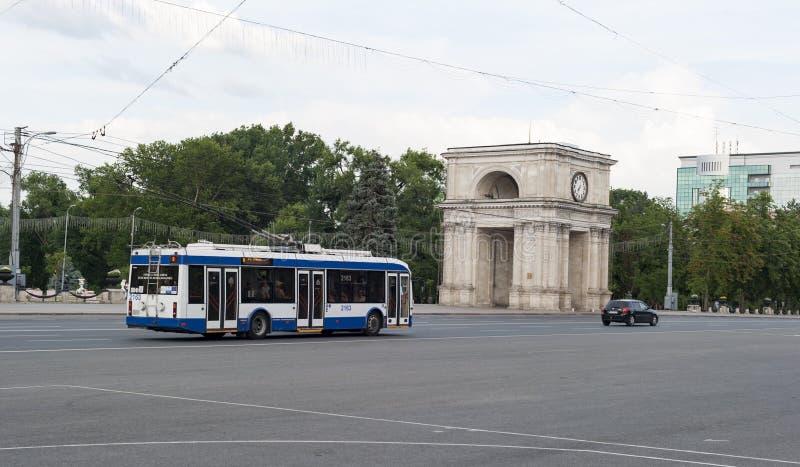 Moldova arc and bus stock image