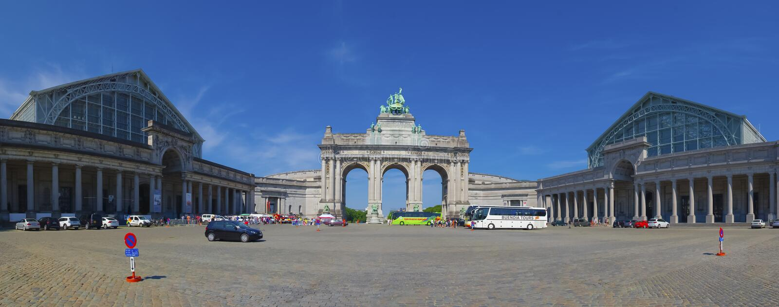 The Triumphal arch (Arc de Triomphe) in Brussels royalty free stock image