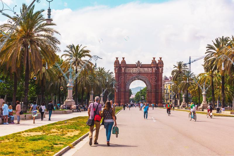 Triumphal Arch in Barcelona stock images