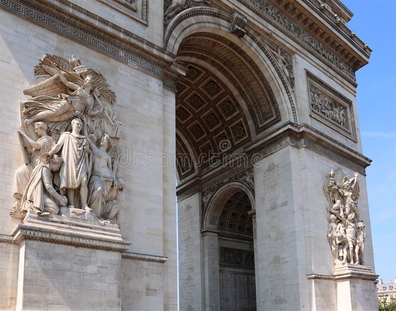 Triumphal Arch called Arc de Triomphe in Paris. Huge Triumphal Arch called Arc de Triomphe in Paris France royalty free stock image