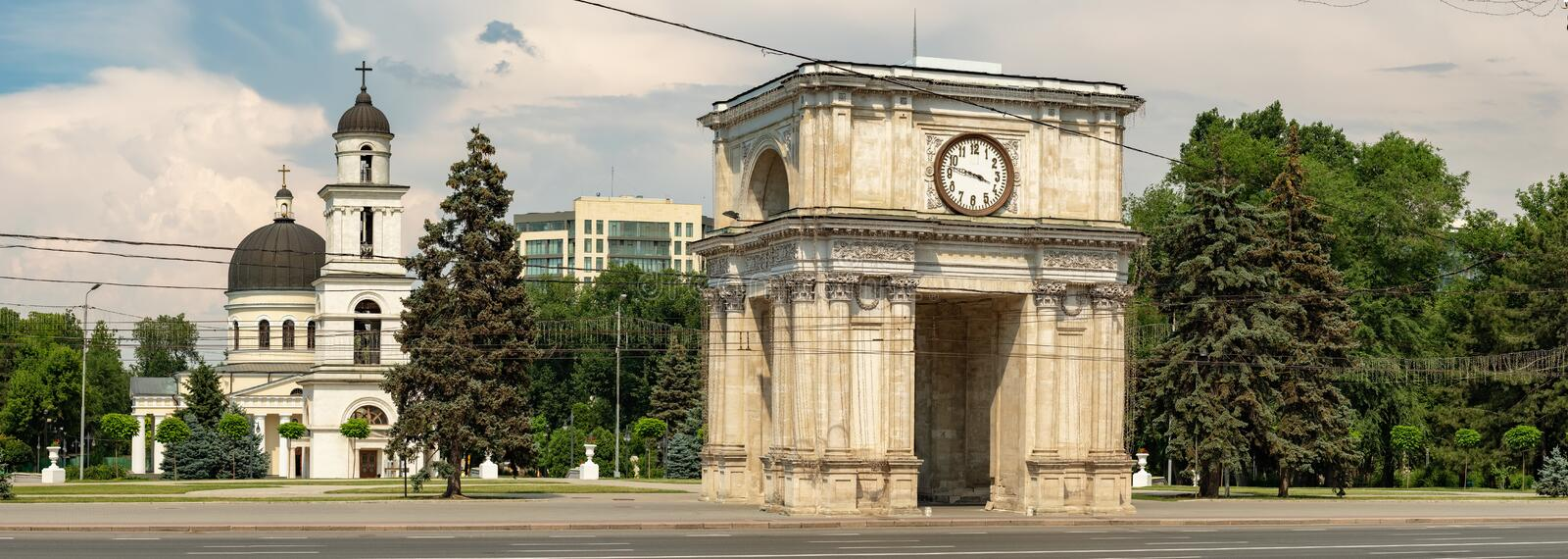The Triumphal Arch in Chisinau, Moldova royalty free stock image