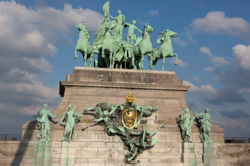 Triumphal Arch in Cinquantennaire Park. In Brussels, Belgium stock photo