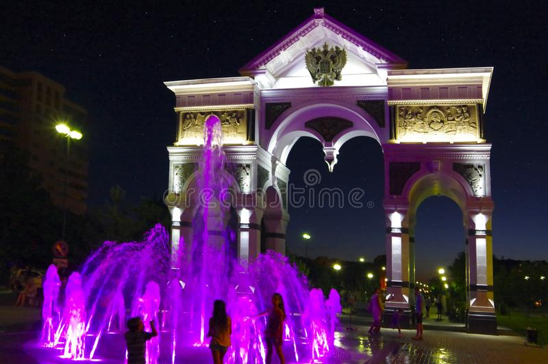 Astrakhan. Russia. Triumphal arch in the city of Astrakhan on the avenue of Glory stock photography