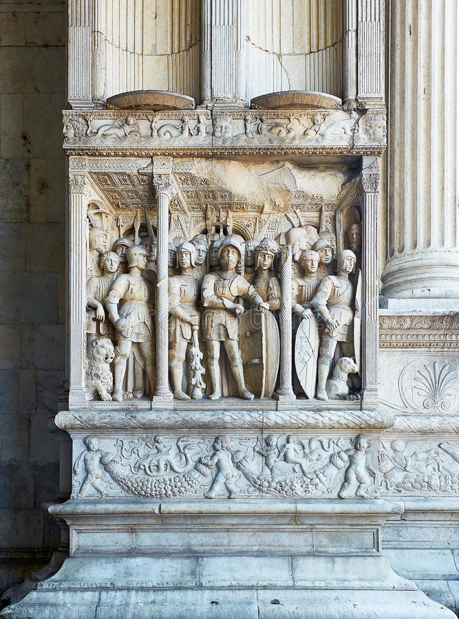 Triumphal arch detail of Castel Nuovo, Maschio Angioino of Naples. stock photo