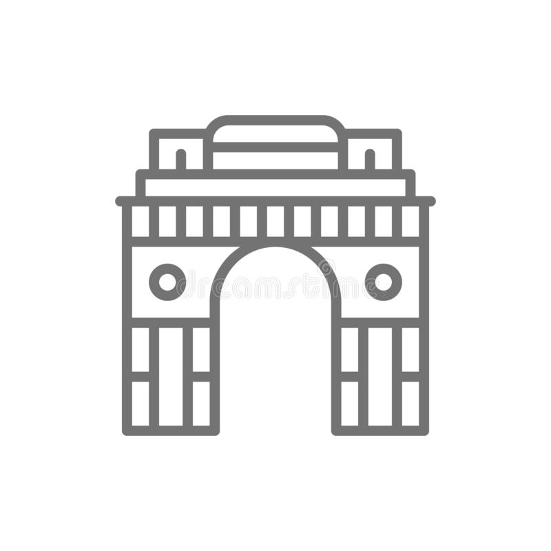 Triumphal Arch Gate of India to New Delhi line icon. royalty free illustration