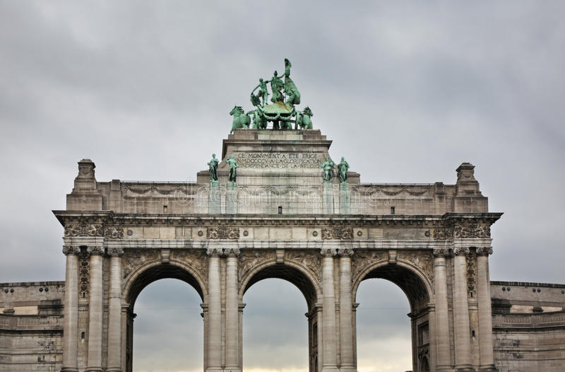 Triumphal arch in Parc du Cinquantenaire – Jubelpark. Brussels. Belgium stock photo