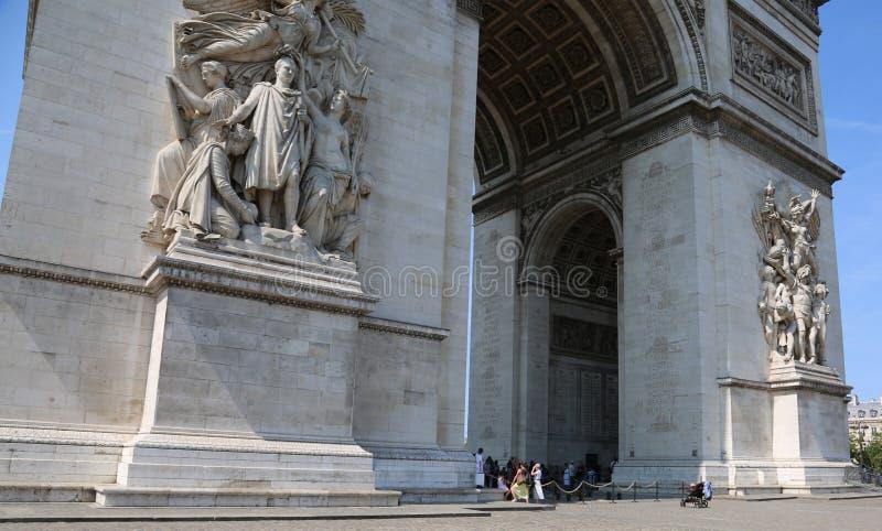 Triumphal Arch in Paris called Arc de Triomphe in french languag. Big Triumphal Arch in Paris France called Arc de Triomphe in french language royalty free stock photo
