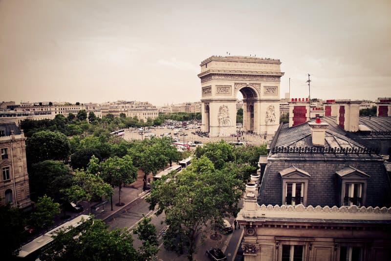 Download Triumphal arch of Paris stock image. Image of view, retro - 65817877