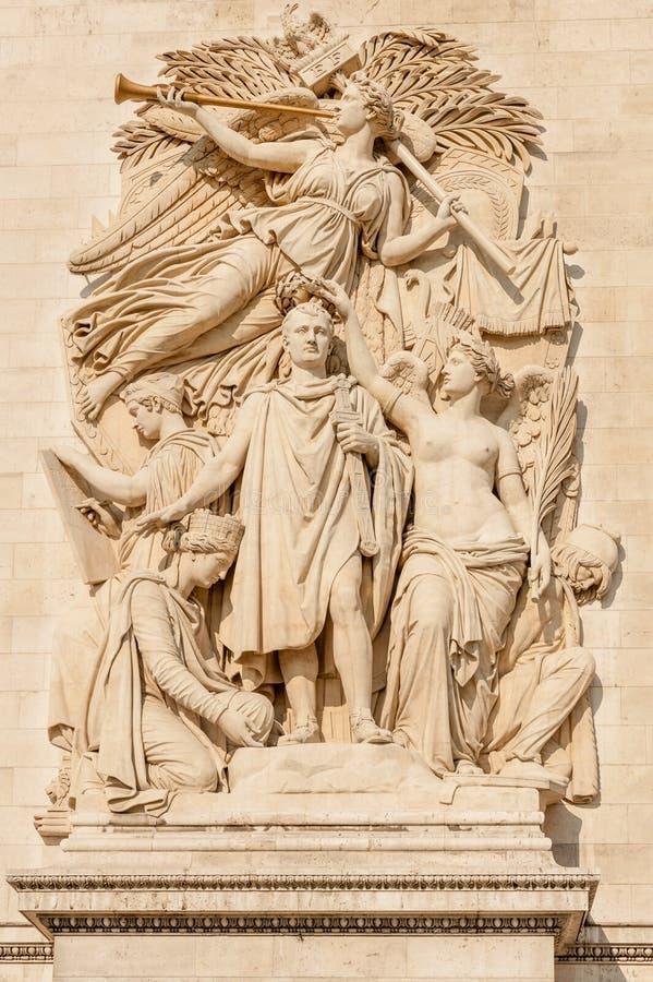 Triumphal Arch pillar relief. Famous Arc de Triomphe Triumphal Arch pillar relief featuring Napoleon relief called Triumph of 1810, Paris, France stock image