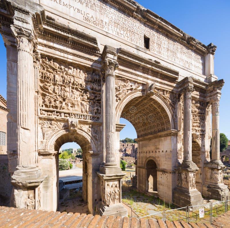 Triumphbogen, Forum Romanum, Rom, Italien lizenzfreie stockbilder