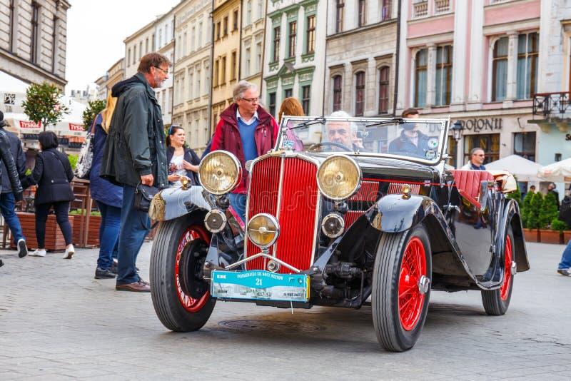 Triumphieren Sie auf der Sammlung von Weinleseautos in Krakau, Polen stockfotografie