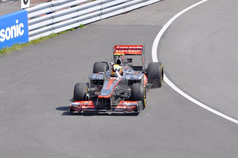 Triunfo 2012 F1 Prix magnífico canadiense de Lewis Hamilton foto de archivo libre de regalías