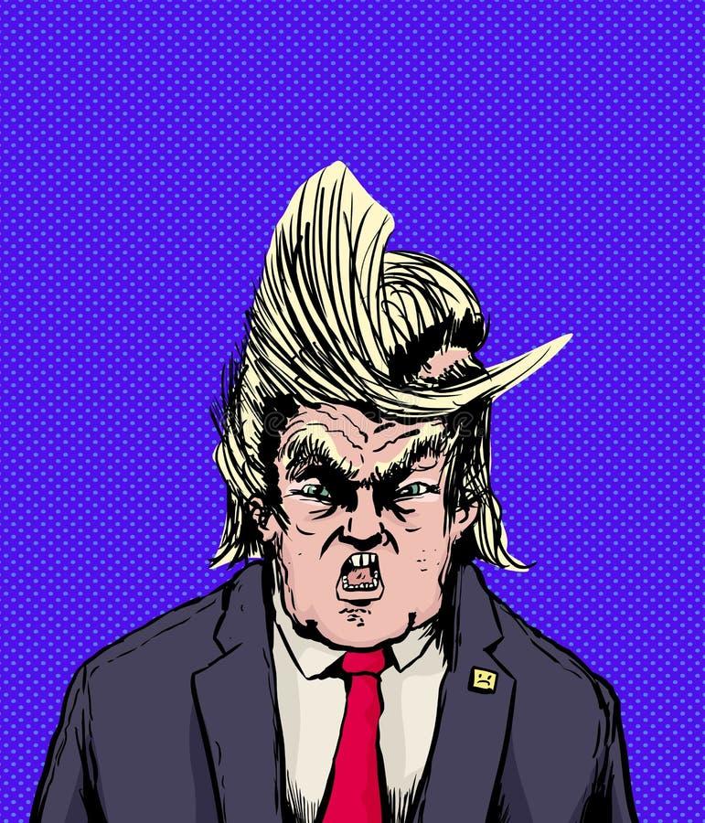 Triunfo de griterío con el pelo dividido extraño ilustración del vector