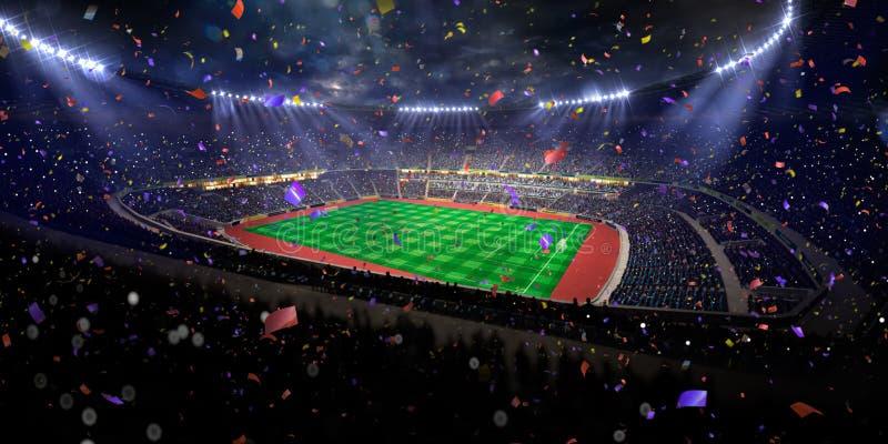 Triunfo del campeonato del campo de fútbol de la arena del estadio de la noche Tono azul imagen de archivo libre de regalías