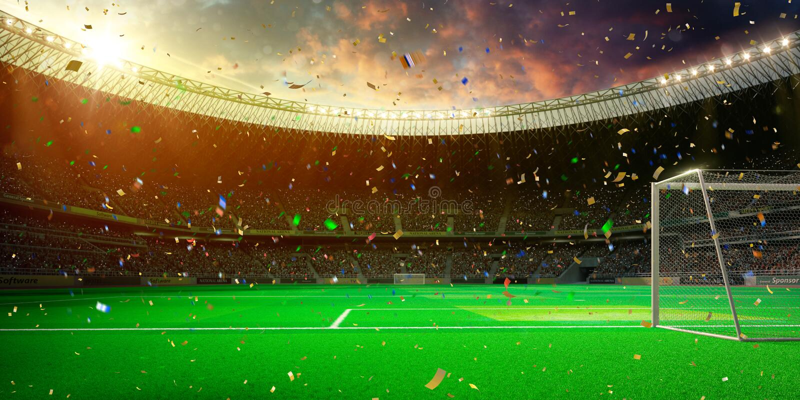 ¡Triunfo del campeonato del campo de fútbol de la arena del estadio de la tarde! imagenes de archivo