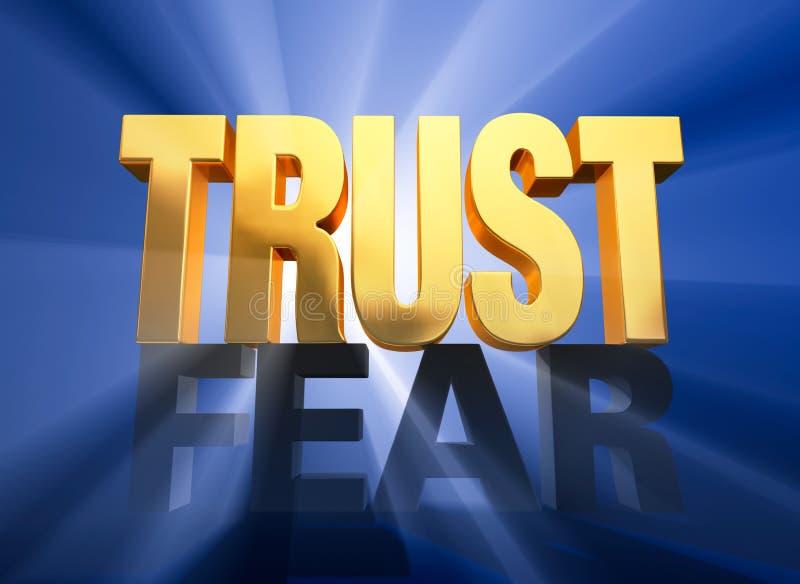 Triunfos de la confianza sobre miedo ilustración del vector