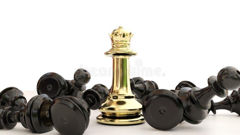 Triunfos de oro de la reina en un juego de ajedrez los empeños negros el ganador - representación 3d ilustración del vector