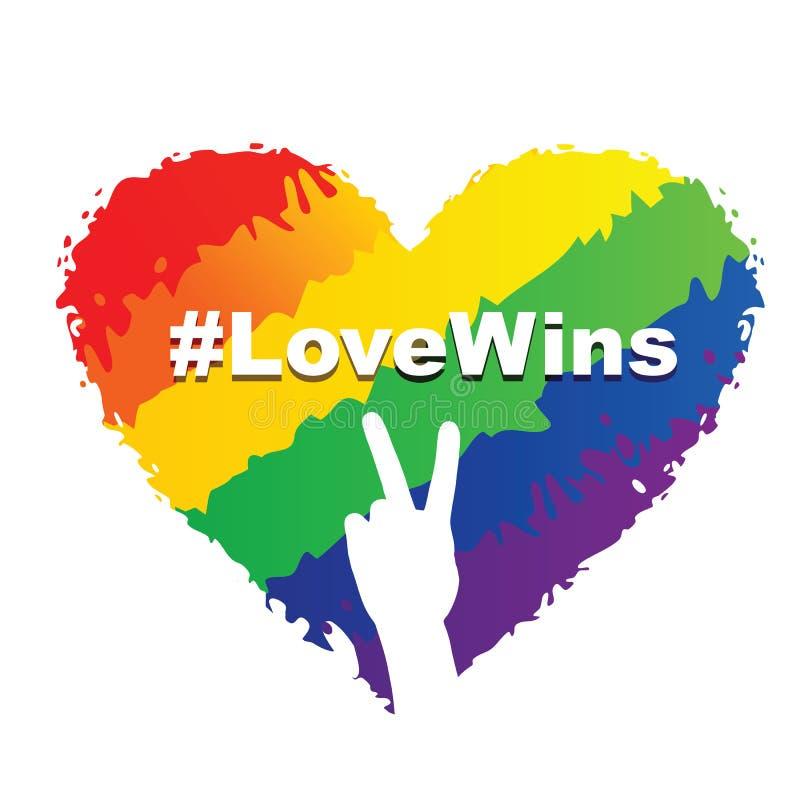 Triunfos del amor - corazón de LGBT stock de ilustración