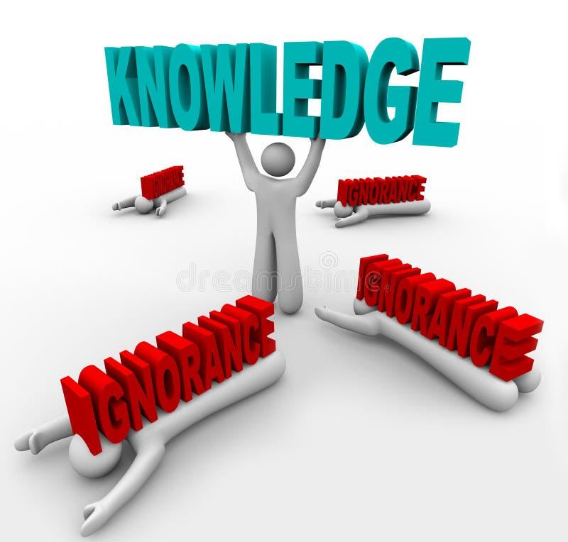 Triunfos del conocimiento sobre ignorancia stock de ilustración