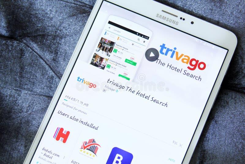 Trivago APP auf Google-Spiel stockbilder