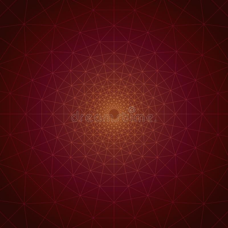 Trivexen Magma: Triangular Vortex Geometric Lines on Gradient Cosmic Plain. Geolumina Series: Trivexen Magma. Triangular Vortex Geometric Lines on Gradient royalty free illustration