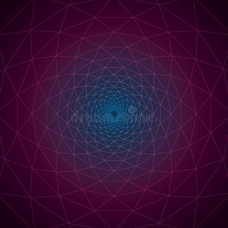 Trivexen skymning: Geometriska linjer för triangulär virvel på den kosmiska slätten för lutning stock illustrationer