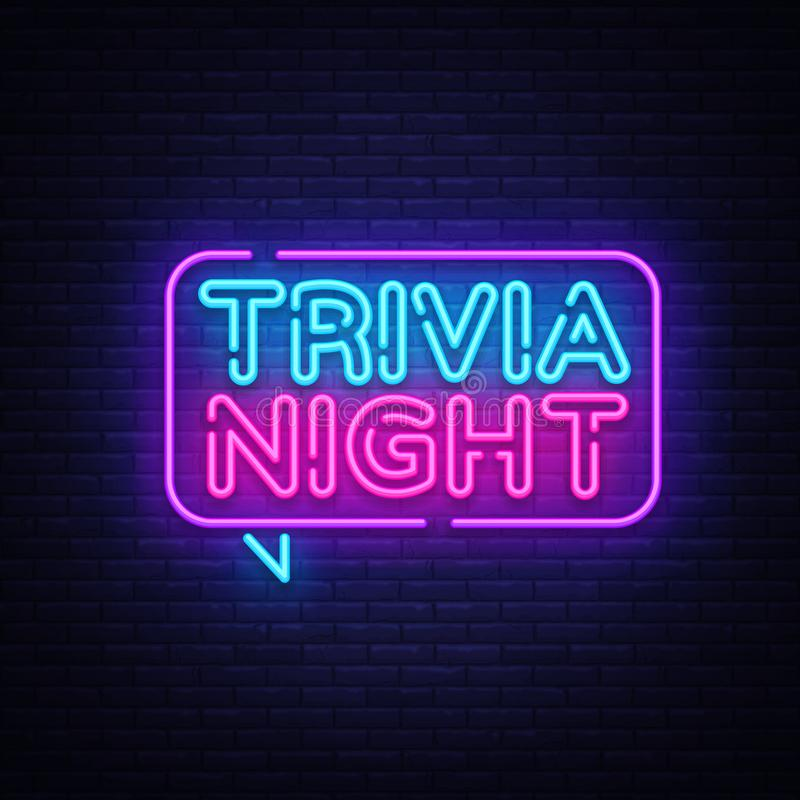 Trivia night announcement neon signboard vector. Light Banner, Design element, Night Neon Advensing. Vector illustration.  stock illustration