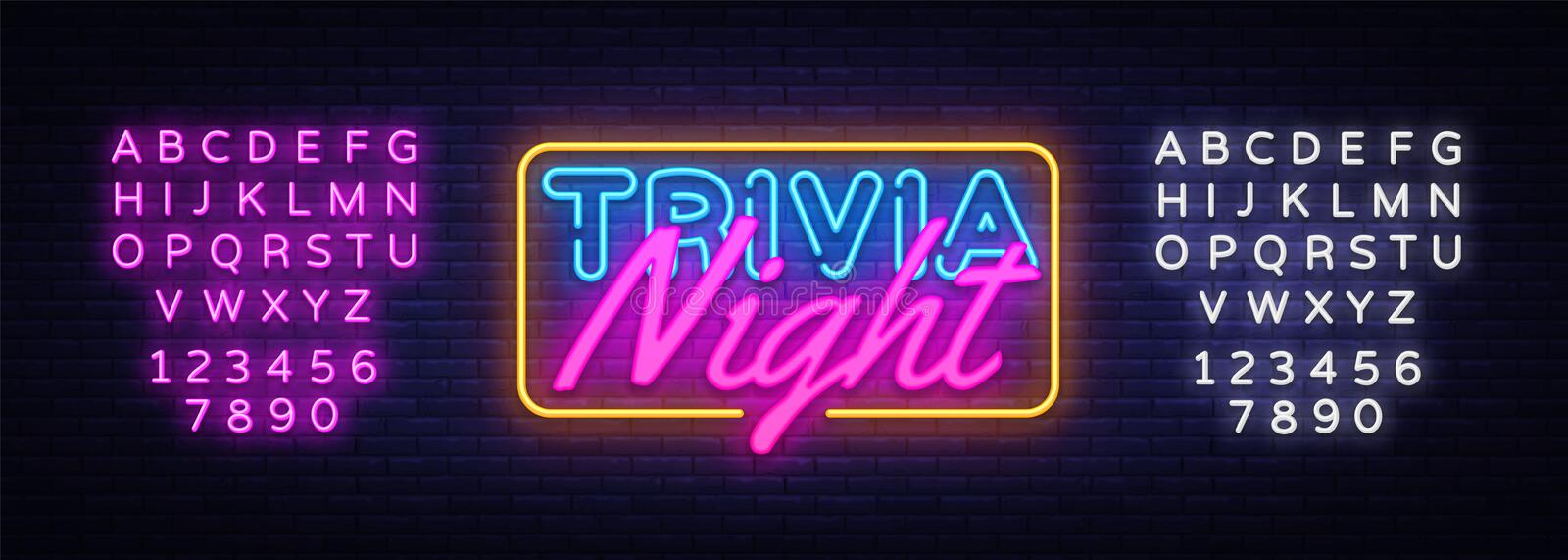 Trivia Night neon sign vector. Quiz Time Design template neon sign, light banner, neon signboard, nightly bright stock illustration