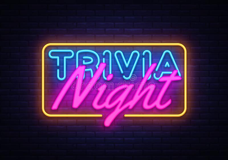 Trivia Night neon sign vector. Quiz Time Design template neon sign, light banner, neon signboard, nightly bright vector illustration