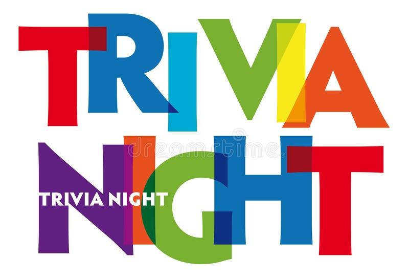 Trivia Night - vector of stylized colorful font stock illustration