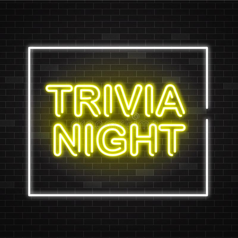 Trivia night yellow neon sign in white frame on dark brick wall background. stock illustration