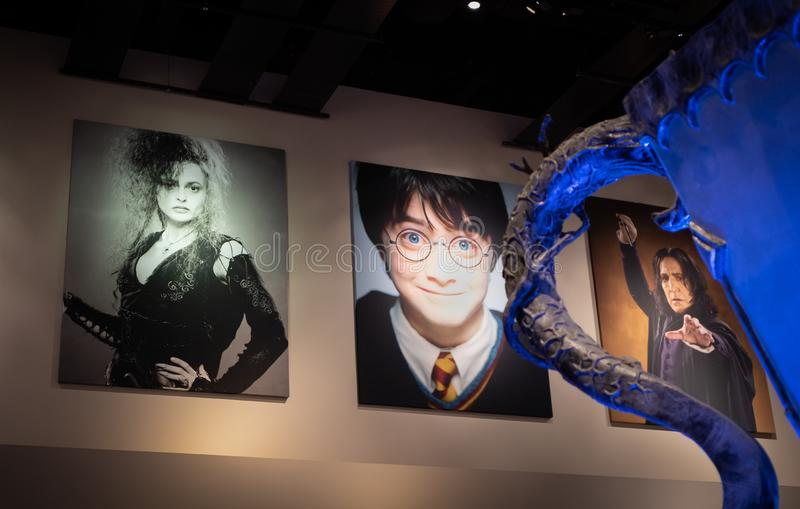 Triwizardkop en affiches van karakters van Harry Potter-films royalty-vrije stock fotografie