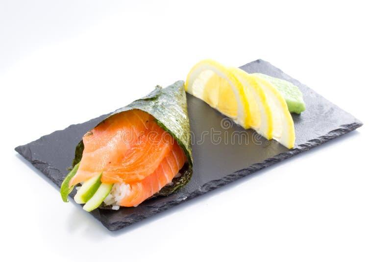 Trmaki Salmon do sushi isolado foto de stock royalty free