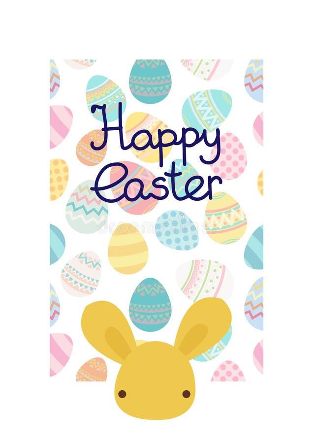 Trmplate della struttura dell'uovo di Pasqua di vettore con coniglio illustrazione di stock