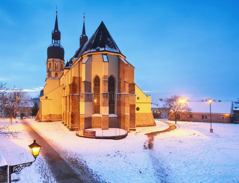 Trnava教会,斯洛伐克-圣徒尼古拉斯在冬天 库存照片