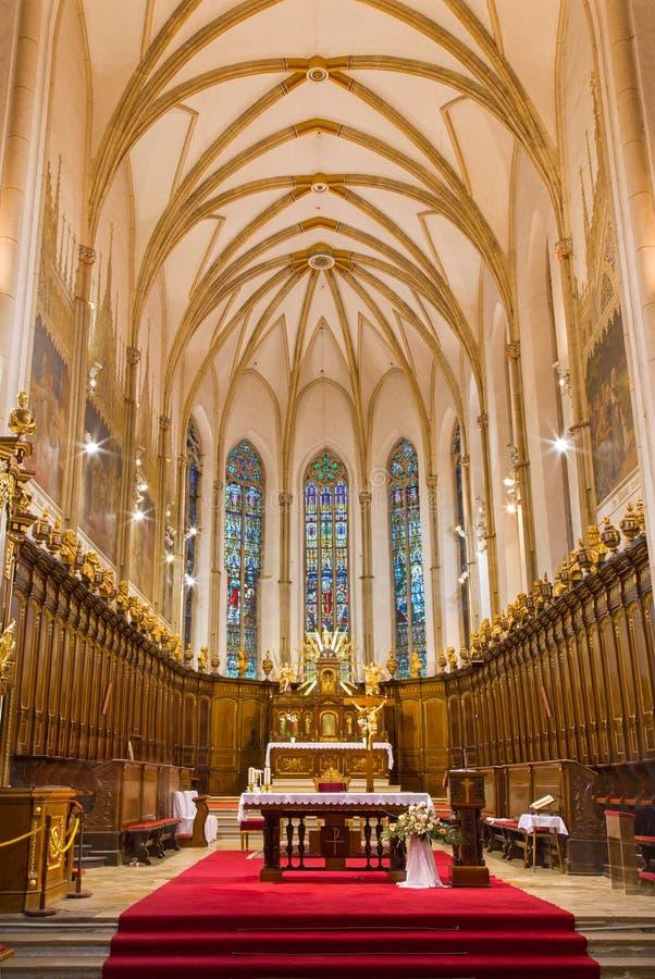 Trnava -哥特式圣尼古拉斯教会的长老会的管辖区 免版税库存图片
