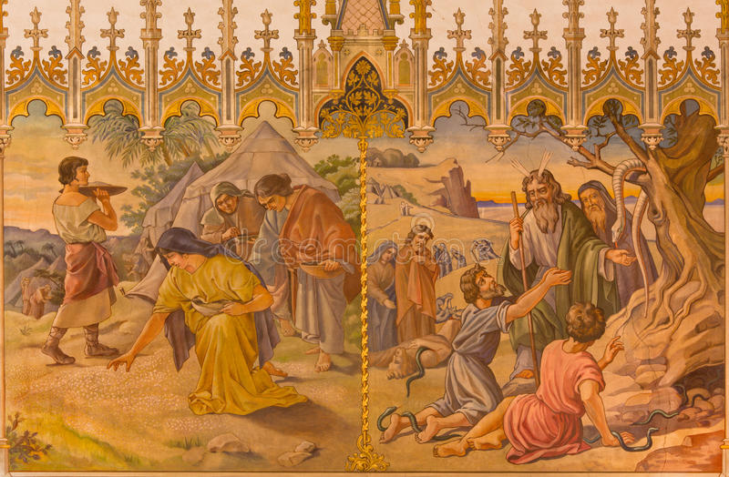 Trnava -场面壁画作为以色列人的会集的精神食粮,并且,摩西做了一条古铜色蛇 免版税库存图片