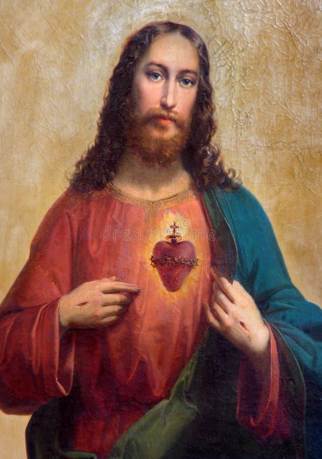 Trnava -耶稣基督油漆的心脏 免版税库存图片
