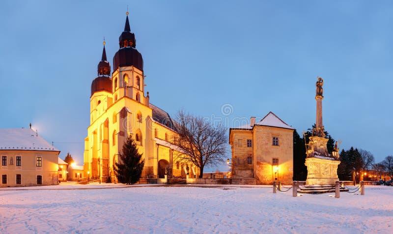 Trnava church, Slovakia, panorama. At winter royalty free stock images