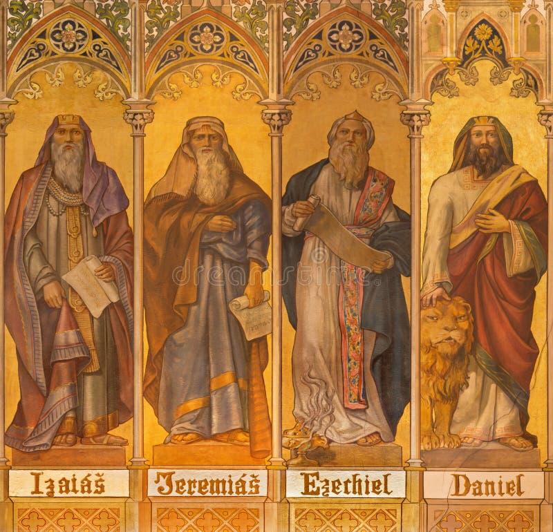 Trnava - de neogotische fresko van grote helderzienden Isaiah, Jeremiah, Ezekiel, Daniel stock foto