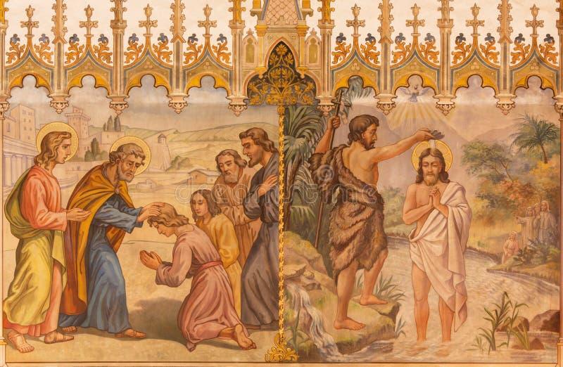 Trnava - de neogotische fresko van het Doopsel van de fhescène van Christus en de Apostelen bij bevestiging royalty-vrije stock foto