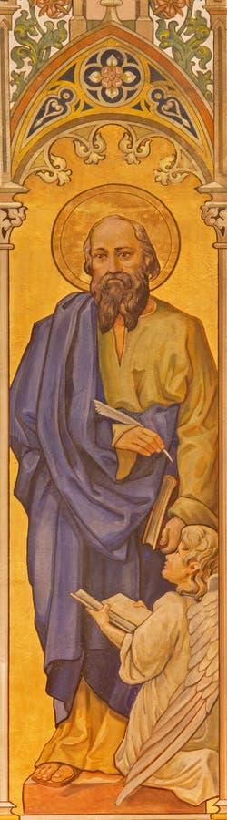Trnava - de neogotische fresko van st Matthew de evangelist door Leopold Bruckner (1905 - 1906) in Sinterklaas-kerk stock afbeelding
