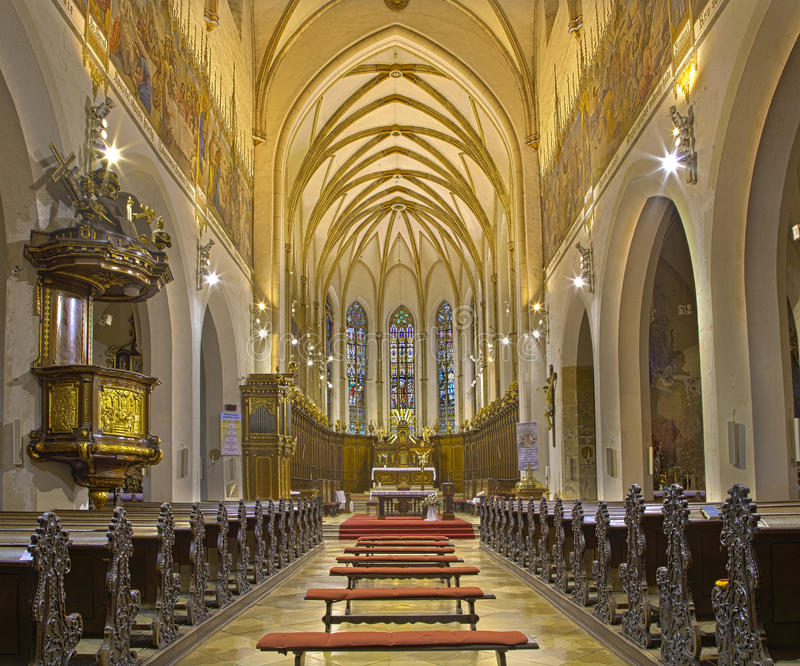 Trnava - The nave of the gothic St. Nicholas church. TRNAVA, SLOVAKIA - OCTOBER 14, 2014: The nave of the gothic St. Nicholas church royalty free stock image