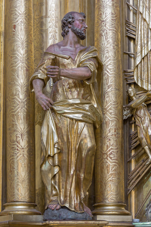 Trnava - The polychrome statue of saint Peter the apostle in the Jesuits church. stock photography