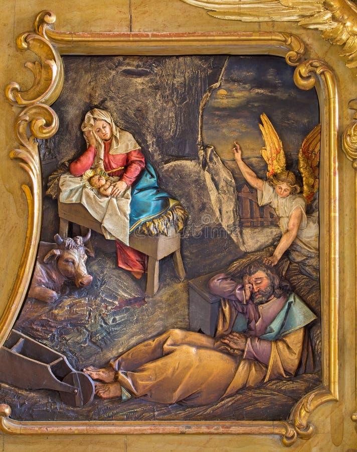 Trnava - relevo cinzelado da natividade fotografia de stock royalty free