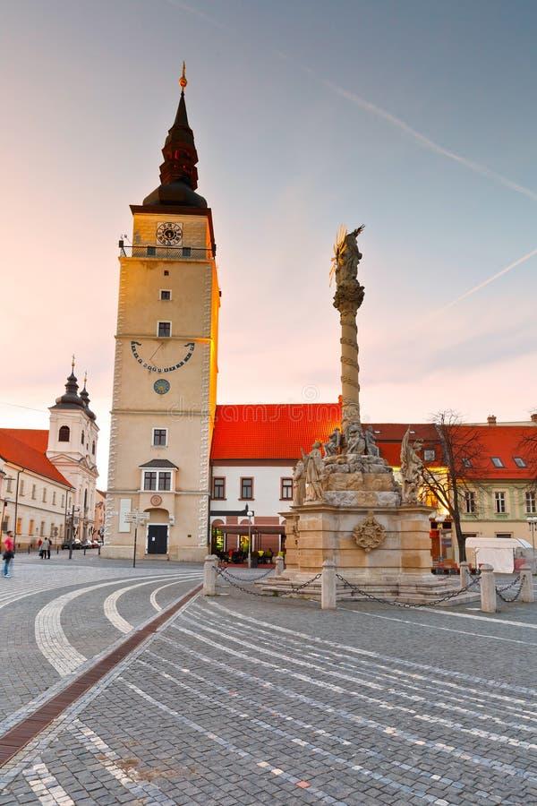 Trnava, Slovakia. City tower in the main square of Trnava, Slovakia stock photos