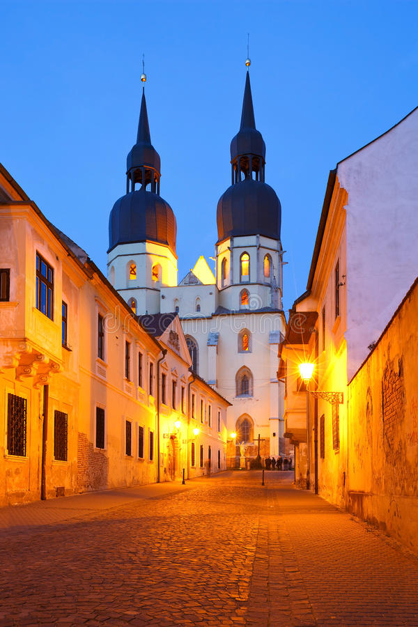 Trnava, Slovakia. Gothic basilica of saint Nicolaus in Trnava in eastern Slovakia stock images